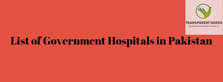 List of Government Hospitals in Pakistan