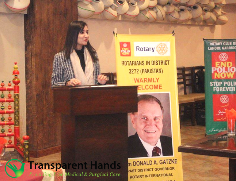 CEO Transparent Hands Ms. Rameeza Mueen was invited as a guest speaker to an event which was co-hosted by Rotary Clubs of Lahore Garriso