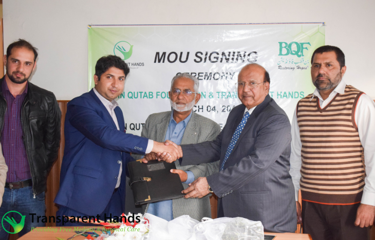 MoU signing of Transparent Hands with Bin Qutab Foundation & Begum Noor Memorial Hospital.